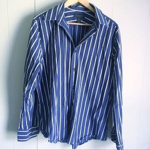 Express Design Studio • Navy Stripe Dress Shirt L